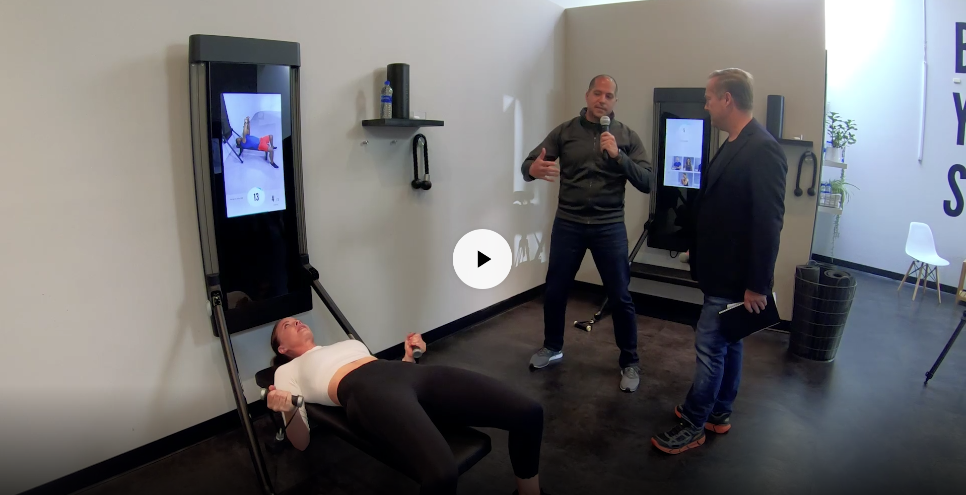 E848: Introducing Tonal smart home fitness center that measures, monitors, instructs & adapts for a personalized full-body workout; CEO/founder Aly Orady demos his invention & vision for the future of health & fitness